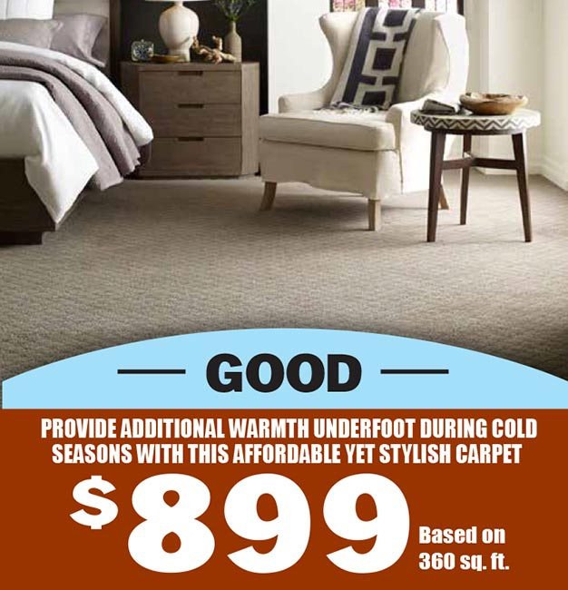 Good carpet. Provide additional warmth underfoot during cold seasons with this affordable yet stylish carpet. $899 based on 360 sq ft.