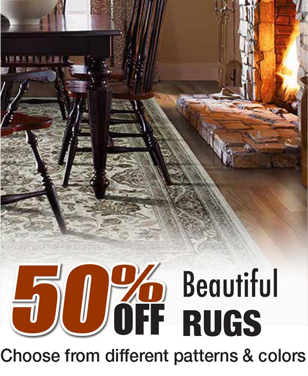 50% off beautiful rugs. Choose from different patterns and colors