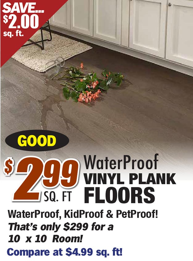 $2.99 for waterproof vinyl plank floors. That's only @299 for a 10 x 10 room. Compare at $4.99 sq ft.