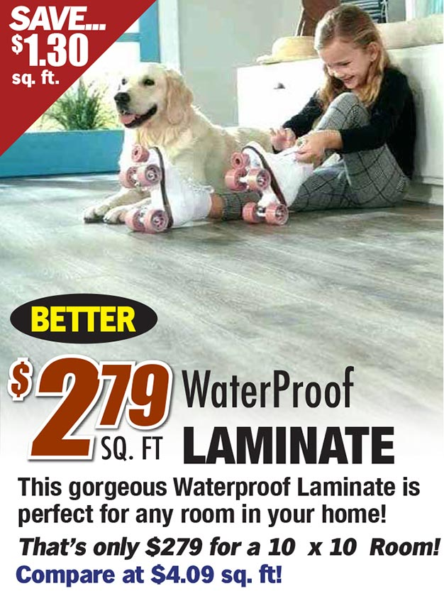 $2.79 for waterproof laminate flooring. This gorgeous waterproof laminate is perfect for any room in your home.