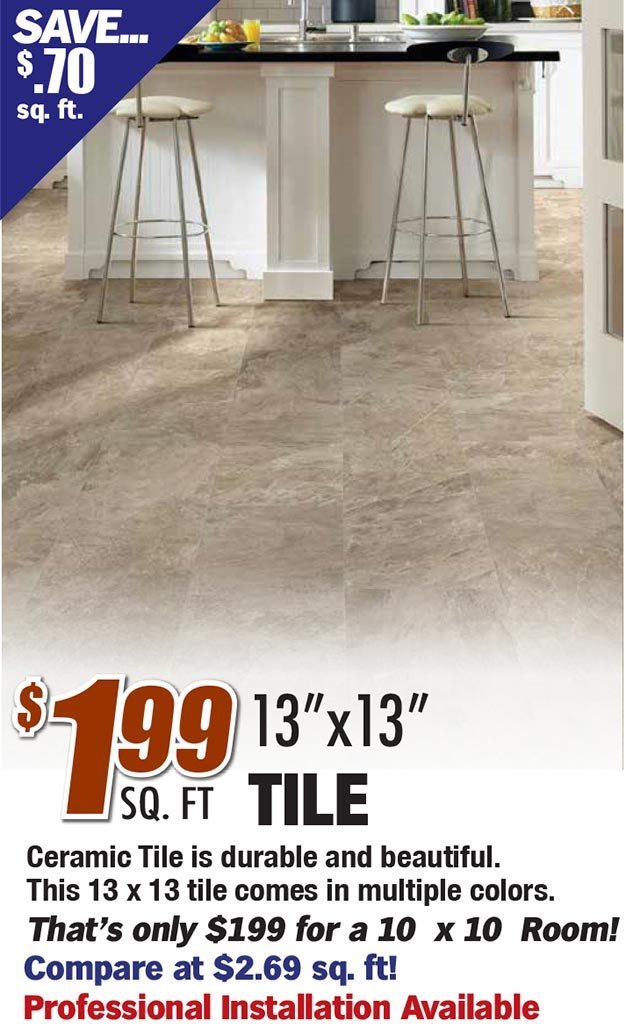 """$1.99 sq ft 13"""" x 13"""" tile. Ceramic tile is durable and beautiful. This 13 x 13 tile comes in multiple colors. That's only $199 for a 10 x 10 room"""