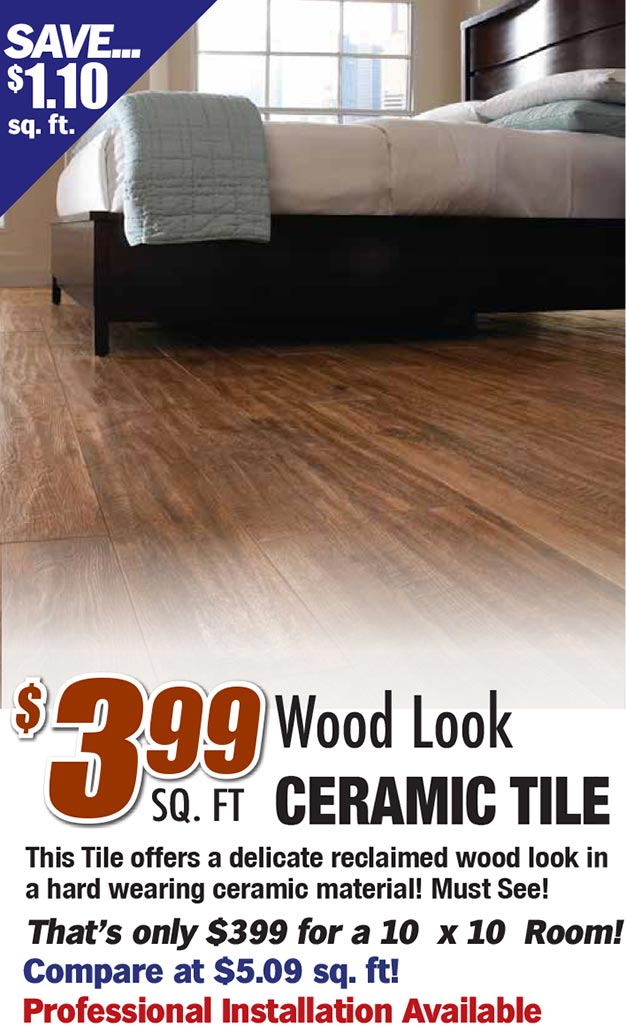 $3.99 sq ft wood look ceramic tile. This tile offers a delicate reclaimed wood look in a hard wearing ceramic material. A must see!
